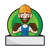 Trabalhador manual Badge Giving Thumbs acima Imagem de Stock Royalty Free