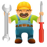trabalhador manual com chave de fenda e chave Imagem de Stock Royalty Free