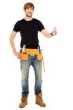 Trabalhador manual com polegares acima Imagens de Stock
