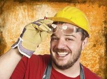 Trabalhador manual com vidro da proteção imagem de stock royalty free