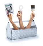 Trabalhador manual da renovação da caixa de ferramentas Imagem de Stock Royalty Free