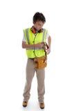 Trabalhador manual do construtor do aprendiz do estagiário imagem de stock