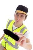 Trabalhador manual do pintor do construtor com escova de pintura imagens de stock