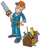 Trabalhador manual dos desenhos animados com caixa de ferramentas.
