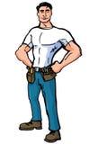 Trabalhador manual dos desenhos animados com correias da ferramenta Imagens de Stock Royalty Free