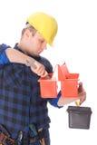 Trabalhador manual e caixa de ferramentas Imagem de Stock Royalty Free