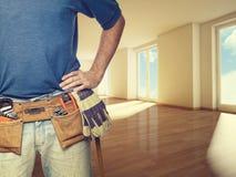 Trabalhador manual em casa Imagens de Stock Royalty Free