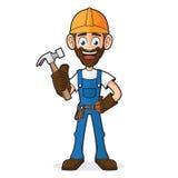 Trabalhador manual Holding Hammer ilustração do vetor
