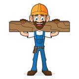 Trabalhador manual Holding Wood Plank ilustração stock