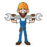 Trabalhador manual Holding Wrench ilustração royalty free