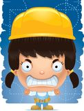 Trabalhador manual irritado da menina dos desenhos animados ilustração royalty free