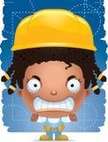 Trabalhador manual irritado da menina dos desenhos animados ilustração do vetor