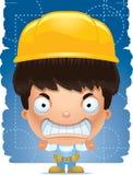 Trabalhador manual irritado do menino dos desenhos animados ilustração do vetor