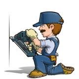 Trabalhador manual - pregando ilustração stock