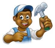 Trabalhador manual preto Cartoon Character do carpinteiro ilustração stock