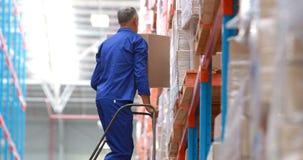 Trabalhador masculino do armazém que usa a escada para arranjar a caixa de cartão filme