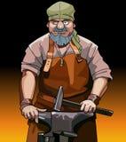 Trabalhador masculino do ferreiro dos desenhos animados com martelo Imagens de Stock Royalty Free