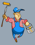 Trabalhador masculino do pintor de casa dos desenhos animados no uniforme Fotos de Stock Royalty Free