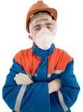 Trabalhador no capacete e no respirador Imagem de Stock