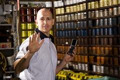 Trabalhador no printshop Imagem de Stock