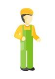 Trabalhador no uniforme e no capacete ilustração royalty free