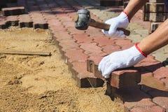 Trabalhador que coloca blocos de pavimentação concretos Fotos de Stock