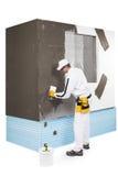 Trabalhador que espalha uma massa de vidraceiro Foto de Stock