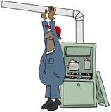 Trabalhador que instala uma fornalha de gás ilustração royalty free