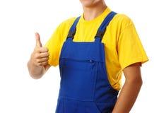Trabalhador que mostra o polegar acima do sinal fotos de stock royalty free