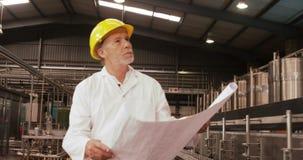 Trabalhador que olha a cópia azul ao examinar video estoque