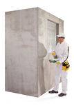 Trabalhador que prepara uma massa de vidraceiro Foto de Stock