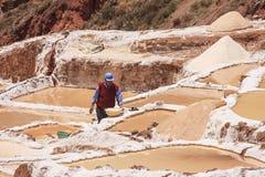 Trabalhador que trabalha nos pântanos de sal de Cusco no Peru Imagem de Stock Royalty Free