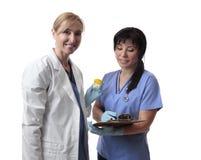 Trabalhadores amigáveis dos cuidados médicos fotografia de stock