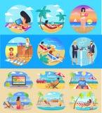 Trabalhadores autônomos com os portáteis em praias exóticas ilustração do vetor
