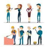 Trabalhadores da construção ajustados ilustração royalty free