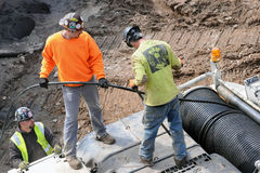 Trabalhadores da construção ao longo da linha alta parque, New York Imagem de Stock Royalty Free