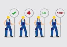 Trabalhadores da construção com ilustração do vetor dos cargos de sinal ilustração royalty free