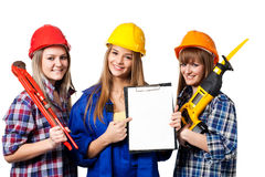 Trabalhadores da construção fêmeas fotografia de stock royalty free