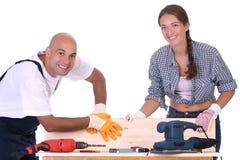 Trabalhadores da construção no trabalho Fotografia de Stock Royalty Free