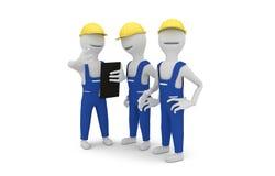 Trabalhadores da construção que discutem o projeto Foto de Stock Royalty Free