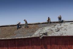 Trabalhadores da construção que telham um celeiro Fotografia de Stock