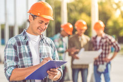 Trabalhadores da indústria da construção civil fotografia de stock royalty free