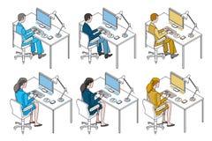 Trabalhadores de escritório com computador Fotos de Stock