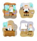 Trabalhadores de escritório em situações diferentes ilustração stock