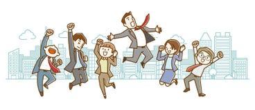 Trabalhadores de escritório felizes que saltam acima ilustração royalty free