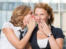 Trabalhadores de escritório que discutem boatos fotos de stock