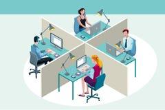 Trabalhadores de escritório que sentam-se em suas mesas Fotos de Stock Royalty Free