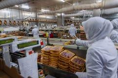 Trabalhadores de mulher muçulmanos que trabalham em uma planta de carne da galinha Fotos de Stock Royalty Free