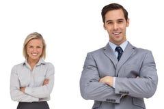 Trabalhadores de sorriso do co do negócio que estão junto Foto de Stock Royalty Free