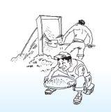 Trabalhadores desenhados mão Imagens de Stock